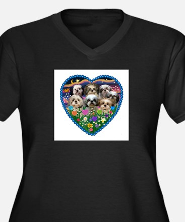 Shih Tzus in Heart Garden Women's Plus Size V-Neck