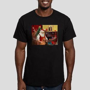 Santa's Vizsla Men's Fitted T-Shirt (dark)