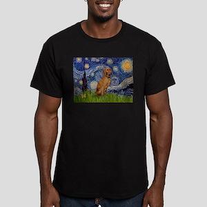 Starry Night & Vizsla Men's Fitted T-Shirt (dark)