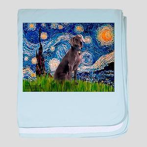 Starry Night Weimaraner baby blanket