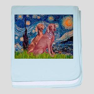 Starry Night Weimaraners baby blanket