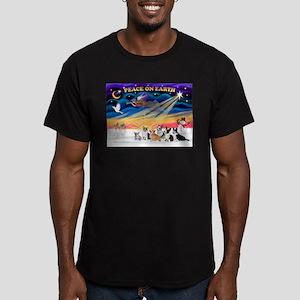 XmasSunrise/6 Corgis Men's Fitted T-Shirt (dark)