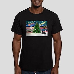 XmasMagic/Corgi (12BW) Men's Fitted T-Shirt (dark)