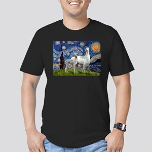 Starry Night Llama Duo Men's Fitted T-Shirt (dark)