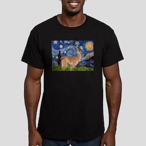 Starry Night Llama Men's Fitted T-Shirt (dark)