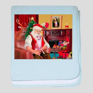 Santa's Whippet (#7) baby blanket