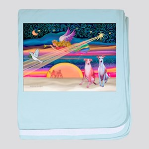 Xmas Star/2 Whippets baby blanket