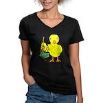Bagpipe Chick Women's V-Neck Dark T-Shirt