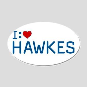 I Heart Hawkes 22x14 Oval Wall Peel