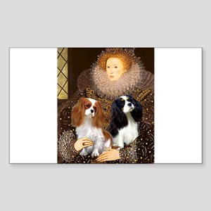Queen / Two Cavaliers Rectangle Sticker