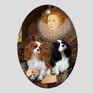 Queen / Two Cavaliers Oval Ornament