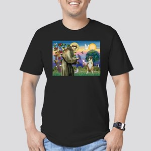 Saint Francis & Boxer Men's Fitted T-Shirt (dark)