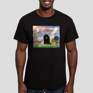 Cloud Angel /Dachshund Men's Fitted T-Shirt (dark)