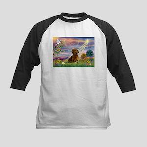 Cloud Angel & Dachshund Kids Baseball Jersey