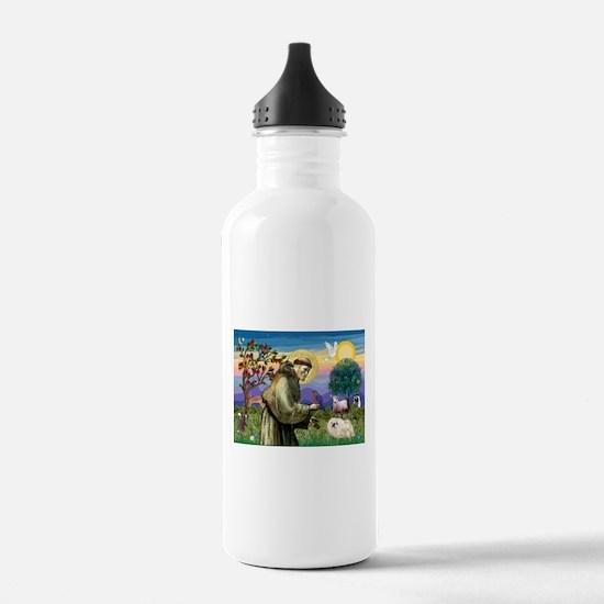 St Francis & white Peke Water Bottle
