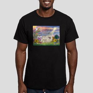 Cloud Angel & White Peke Men's Fitted T-Shirt (dar