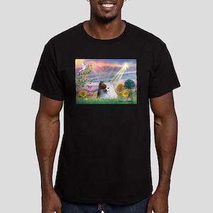 Angel / Pomeranian(r&w) Men's Fitted T-Shirt (dark