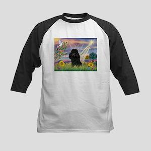 Cloud Angel / Poodle (blk#2) Kids Baseball Jersey