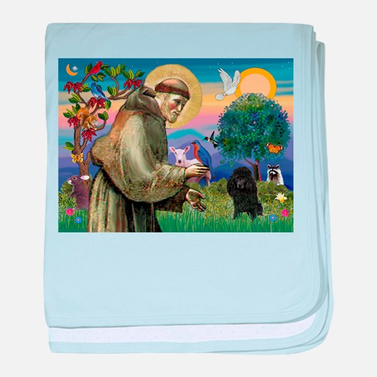 St Francis / Poodle(blk min) baby blanket