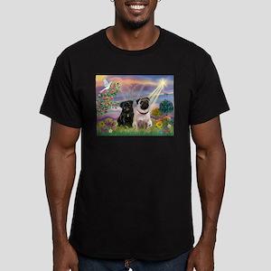 Cloud Angel & 2 Pugs Men's Fitted T-Shirt (dark)