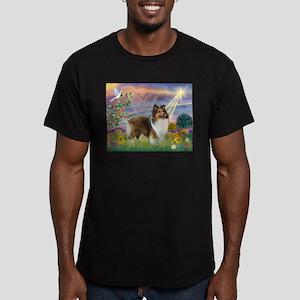 Cloud Angel & Sheltie Men's Fitted T-Shirt (dark)