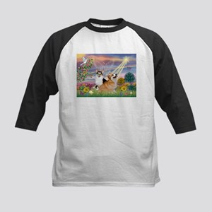 Cloud Angel Welsh Corgi Kids Baseball Jersey