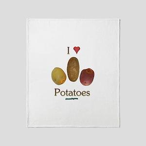 I Heart Potatoes Throw Blanket
