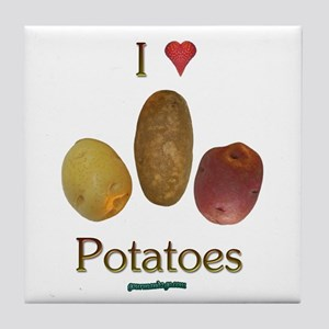 I Heart Potatoes Tile Coaster