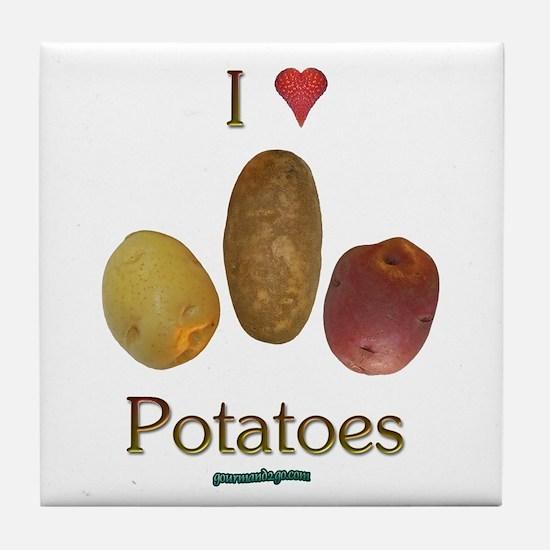 I Heart Potatoes Tile Coaster