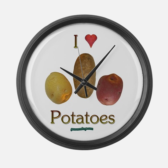 I Heart Potatoes Large Wall Clock