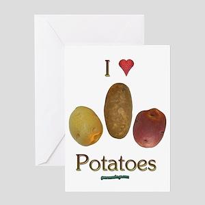 I Heart Potatoes Greeting Card