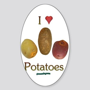 I Heart Potatoes Sticker (Oval)