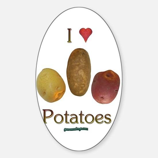 I Heart Potatoes Sticker (Oval)