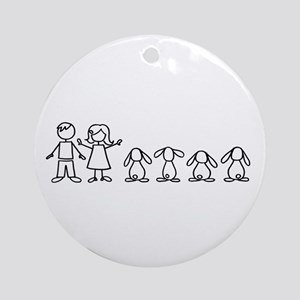 4 lop bunnies family Ornament (Round)