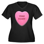 Candy Heart Women's Plus Size V-Neck Dark T-Shirt