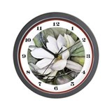White magnolia watercolor art Wall Clocks