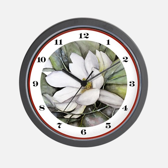 White Magnolia Watercolor Art Wall Clock
