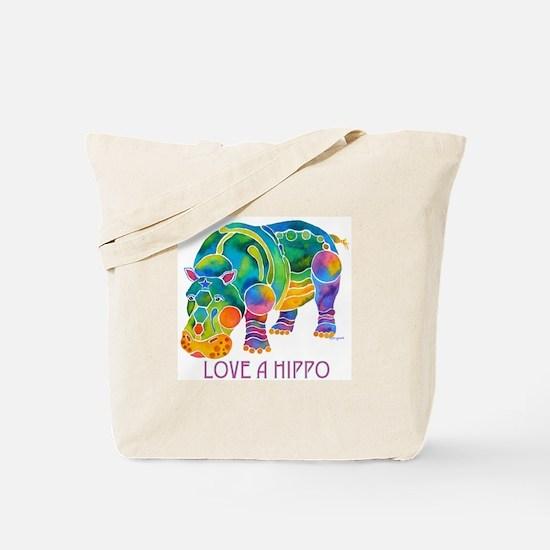 Colorful LOVE A HIPPO Tote Bag
