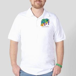 Colorful LOVE A HIPPO Golf Shirt