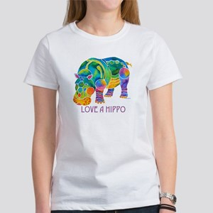 Colorful LOVE A HIPPO Women's T-Shirt