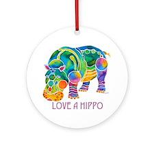 Colorful LOVE A HIPPO Ornament (Round)