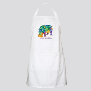 Colorful LOVE A HIPPO Apron