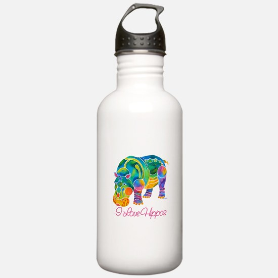 I Love Hippos of Many Colors Water Bottle