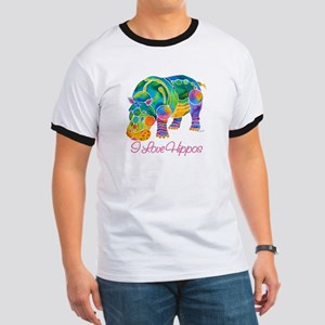 I Love Hippos of Many Colors Ringer T