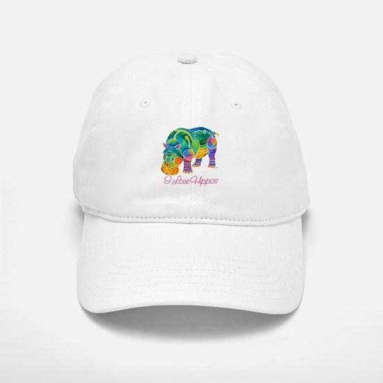 I Love Hippos of Many Colors Baseball Baseball Cap