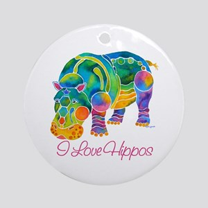 I Love Hippos of Many Colors Ornament (Round)