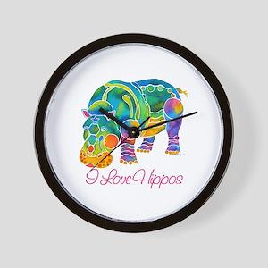 I Love Hippos of Many Colors Wall Clock