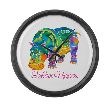 I Love Hippos of Many Colors Large Wall Clock