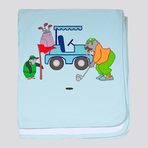 Playing Golf baby blanket