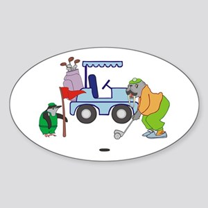 Playing Golf Sticker (Oval)